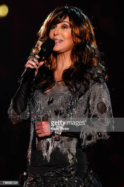 Singer Cher speaks onstage during the 50th annual Grammy awards held at the Staples Center on February 10 2008 in Los Angeles California