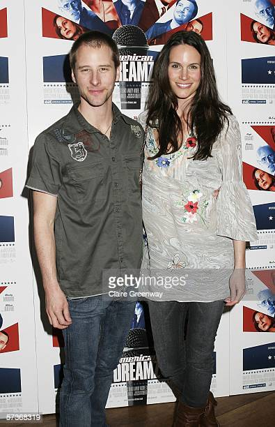 Singer Chesney Hawkes and his wife Kristina attend the American Dreamz celebrity screening at the Soho Hotel on April 19 2006 in London England