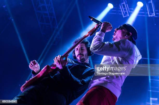Singer Chester Benington and bass player Brad Delson of Linkin Park performs as part of Maximus Music Festival at Tecnopolis on May 06 2017 in Buenos...