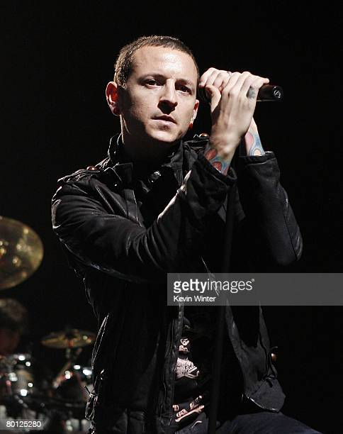 Singer Chester Bennington of Linkin Park performs at the Staples Center on March 4 2008 in Los Angeles California