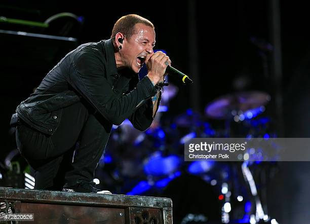Singer Chester Bennington of Linkin Park performs onstage during Rock in Rio USA at the MGM Resorts Festival Grounds on May 9 2015 in Las Vegas Nevada