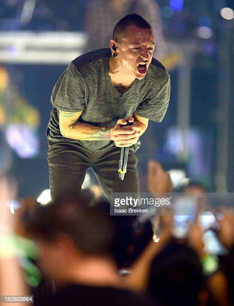 Singer Chester Bennington of Linkin Park performs onstage during the 2012 iHeartRadio Music Festival at the MGM Grand Garden Arena on September 22...