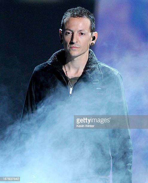 Singer Chester Bennington of Linkin Park performs onstage during Spike TV's 10th annual Video Game Awards at Sony Pictures Studios on December 7 2012...
