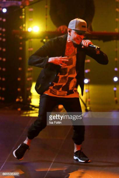 US singer Chester Bennington performs with his band Linkin Park during the Echo award show on April 6 2017 in Berlin Germany