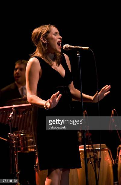 Singer China Forbes of the US band 'Pink Martini' performs live during a concert at the Admiralspalast October 19 2007 in Berlin Germany The concert...