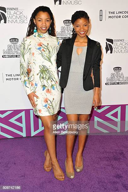 Singer Chloe Bailey and Halle Bailey attend ESSENCE 7th Annual Black Women In Music at Avalon Hollywood on February 11 2016 in Los Angeles California