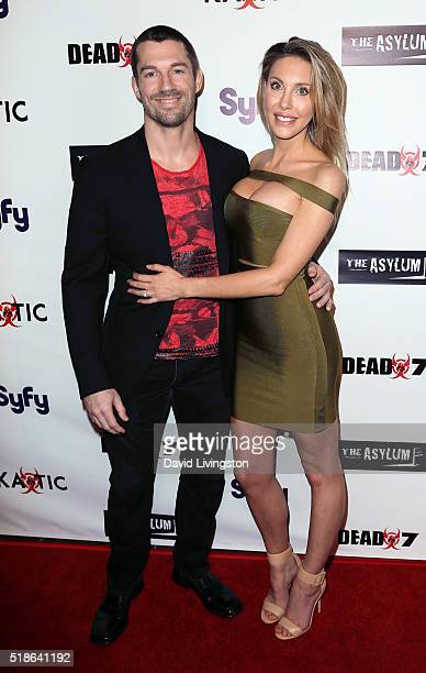 """Singer Chloe Lattanzi and James Driskill attend the premiere of Syfy's """"Dead 7"""" at Harmony Gold on April 1, 2016 in Los Angeles, California."""
