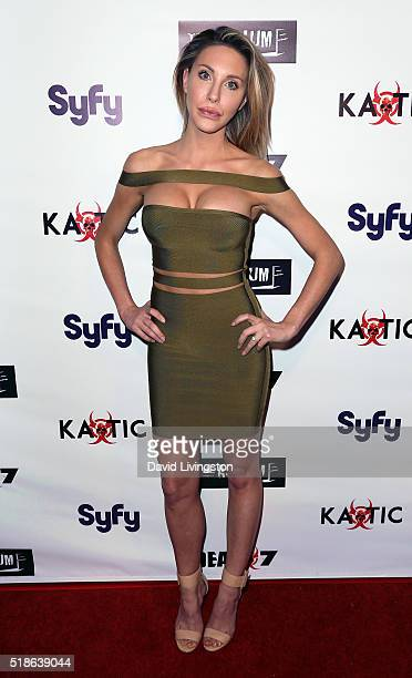 """Singer Chloe Lattanzi attends the premiere of Syfy's """"Dead 7"""" at Harmony Gold on April 1, 2016 in Los Angeles, California."""