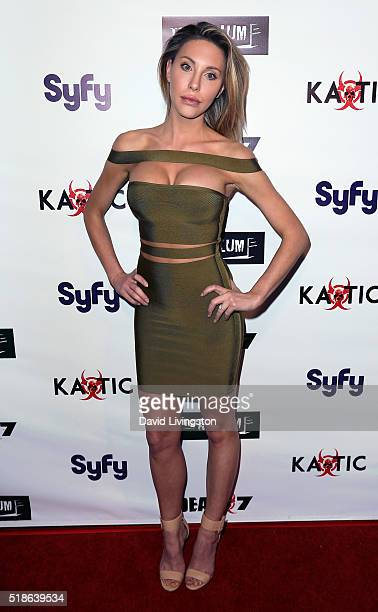 Singer Chloe Lattanzi attends the premiere of Syfy's 'Dead 7' at Harmony Gold on April 1 2016 in Los Angeles California