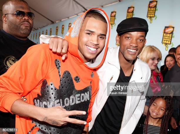 Singer Chris Brown and actor Will Smith arrive at Nickelodeon's 2008 Kids' Choice Awards held at UCLA's Pauley Pavilion on March 29 2008 in Westwood...