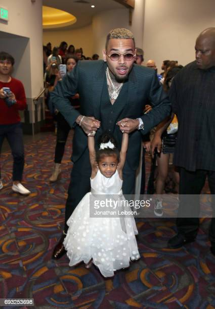 Singer Chris Brown and daughter Royalty attend the Premiere Of Riveting Entertainment's 'Chris Brown Welcome To My Life' at LA LIVE on June 6 2017 in...