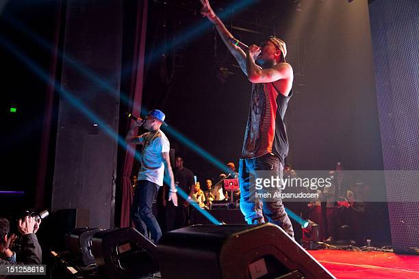 Singer Chris Brown and rapper Michael Ray NguyenStevenson aka Tyga perform at the 2012 Closer To My Dreams Tour at Club Nokia on September 4 2012 in...