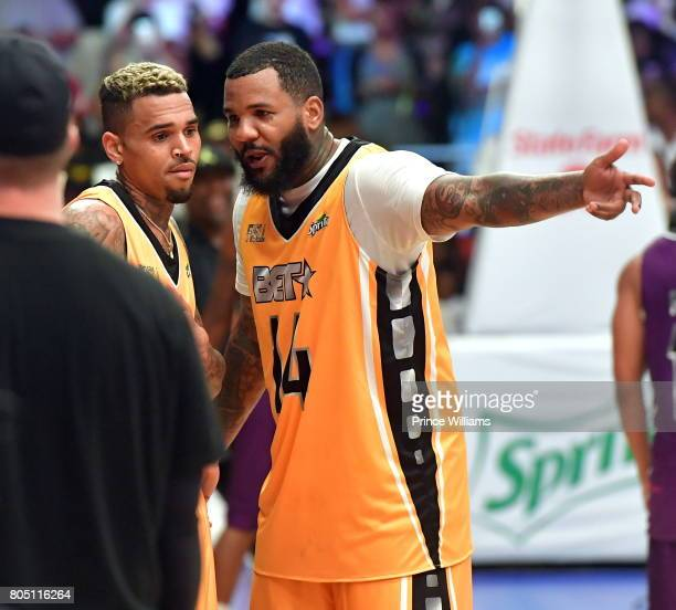 Singer Chris Brown and Rapper The Game attend the Celebrity Basketball Game During the 2017 BET Experience at the Los Angeles Convention Center on...