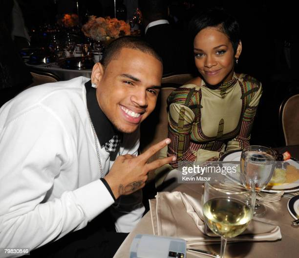 BEVERLY HILLS CA FEBRUARY 09 Singer Chris Brown and Singer Rihanna during the 2008 Clive Davis PreGRAMMY party at the Beverly Hilton Hotel on...