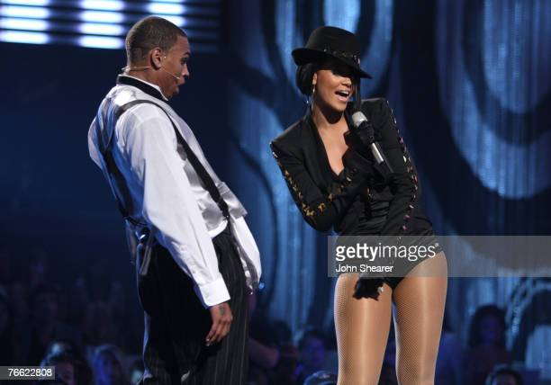Singer Chris Brown and Singer Rihanna performs during the 2007 MTV Video Music Awards at The Palms Hotel and Casino on September 9 2007 in Las Vegas...