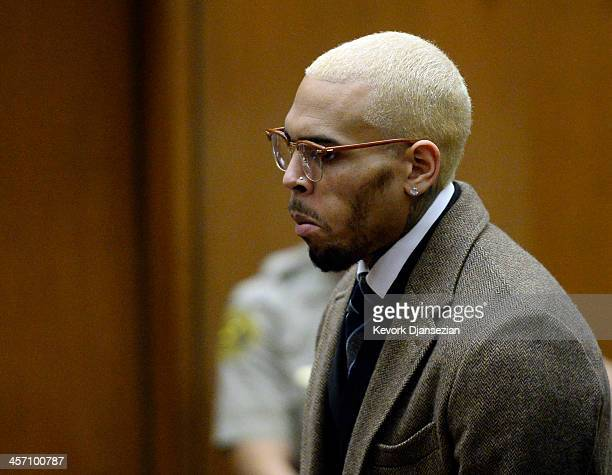 Singer Chris Brown appears in court for a probation violation hearing during which his probation was revoked by a Los Angeles Superior judge on...