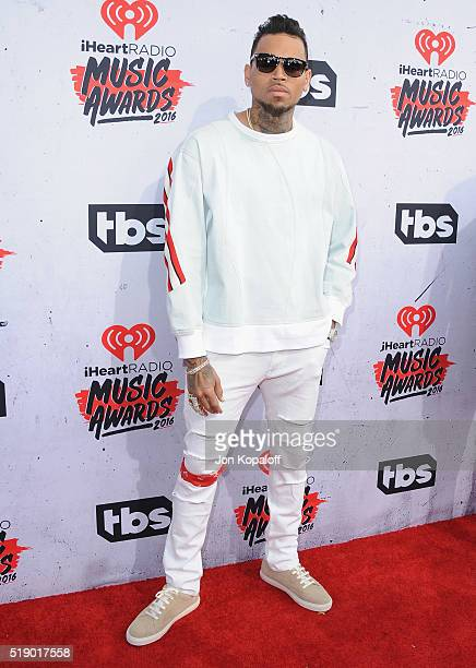 Singer Chris Brown arrives at iHeartRadio Music Awards on April 3 2016 in Inglewood California