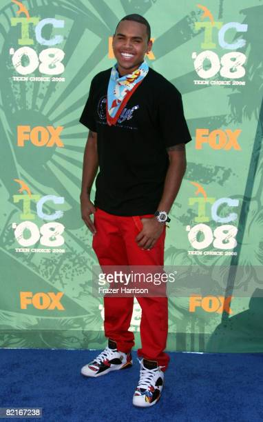 Singer Chris Brown arrives at the 2008 Teen Choice Awards at Gibson Amphitheater on August 3 2008 in Los Angeles California