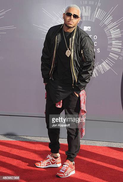 Singer Chris Brown arrives at the 2014 MTV Video Music Awards at The Forum on August 24 2014 in Inglewood California