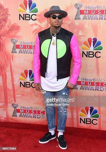 Singer Chris Brown arrives at the 2015 iHeartRadio Music Awards at The Shrine Auditorium on March 29 2015 in Los Angeles California