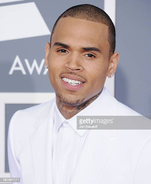 Singer Chris Brown arrives at The 55th Annual GRAMMY Awards at Staples Center on February 10 2013 in Los Angeles California