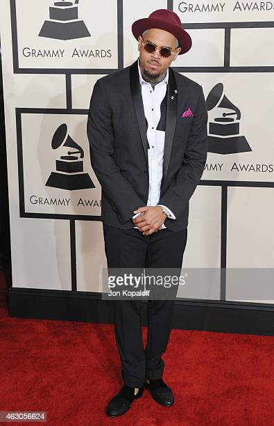 Singer Chris Brown arrives at the 57th GRAMMY Awards at Staples Center on February 8, 2015 in Los Angeles, California.