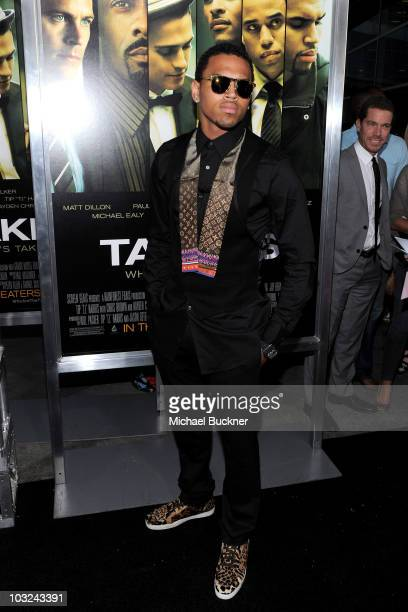 Singer Chris Brown arrives at the premiere of Screen Gems' 'Takers' at the Arclight Cinerama Dome on August 4 2010 in Hollywood California