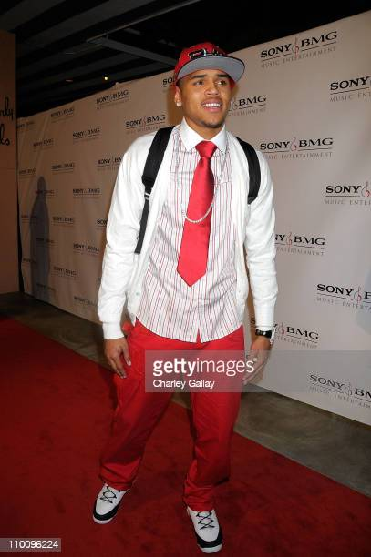 Singer Chris Brown arrives at the Sony/BMG Grammy After Party at the Beverly Hills Hotel on February 10 2008 in Beverly Hills California
