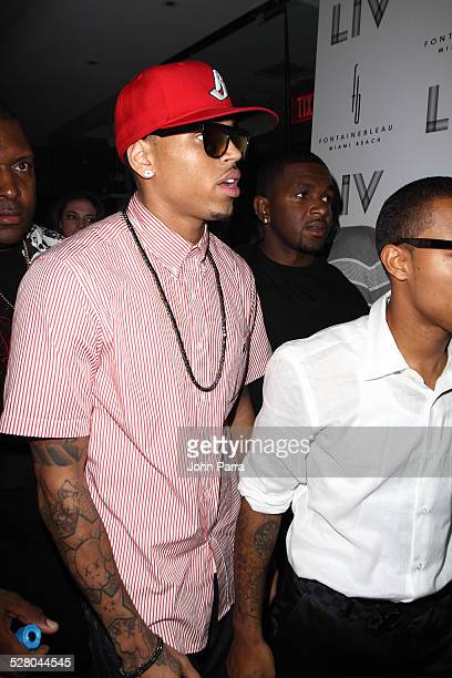 Singer Chris Brown arrives for New Year's Eve performance at Fontainebleau Miami Beach on December 31 2009 in Miami Beach Florida