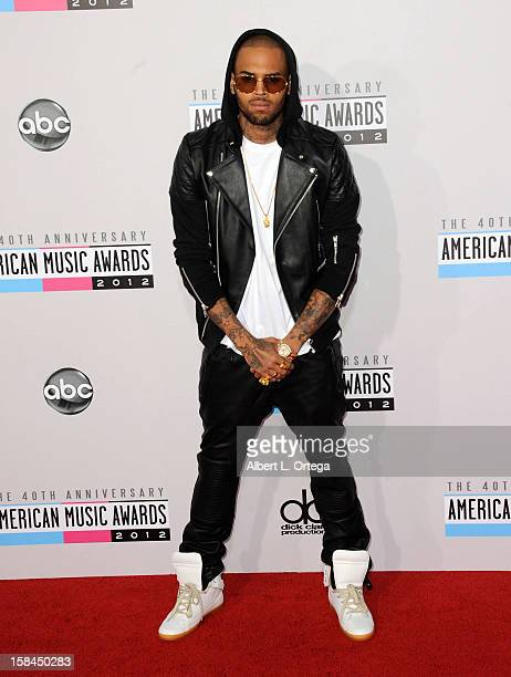 Singer Chris Brown arrives for the 40th Anniversary American Music Awards Arrivals held at Nokia Theater LA Live on November 18 2012 in Los Angeles...