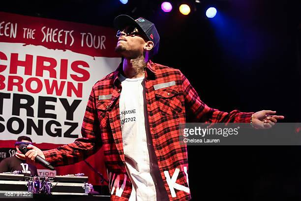 Singer Chris Brown attends a press conference at House of Blues Sunset Strip on November 10 2014 in West Hollywood California