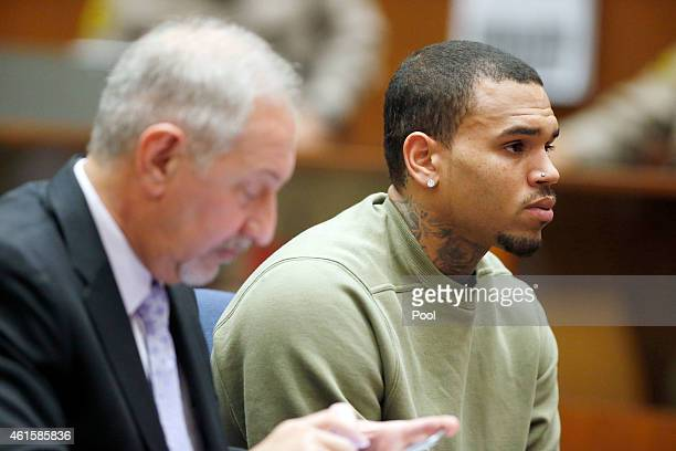 Singer Chris Brown attends a progress hearing at Los Angeles Superior Court on January 15 2015 in Los Angeles California Brown was first placed on...