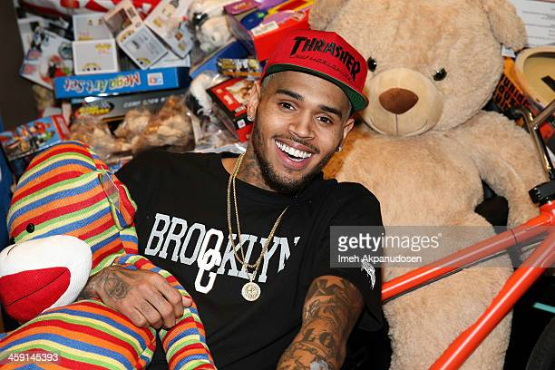 Singer Chris Brown attends the 1st Annual Xmas Toy Drive hosted by himself and Brooklyn Projects on December 22, 2013 in Los Angeles, California.