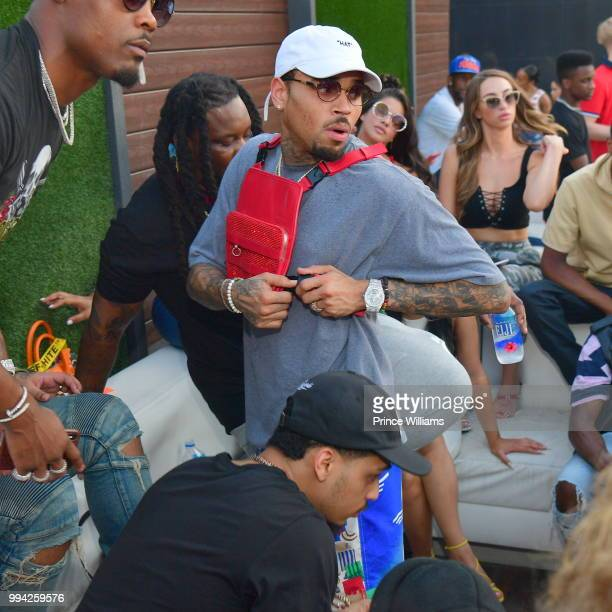 Singer Chris Brown attends The 4th of July Day Party at Compound on July 4 2018 in Atlanta Georgia
