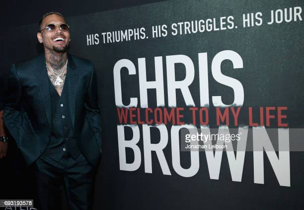 Singer Chris Brown attends the Premiere of Riveting Entertainment's Chris Brown Welcome To My Life at LA LIVE on June 6 2017 in Los Angeles California