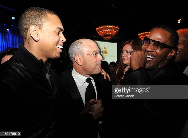 Singer Chris Brown, Chairrman and CEO RCA Jive label group Barry Weiss, and actor Jamie Foxx attend the 2009 GRAMMY Salute To Industry Icons honoring...