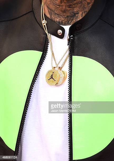 Singer Chris Brown jewelry detail attends the 2015 iHeartRadio Music Awards which broadcasted live on NBC from The Shrine Auditorium on March 29 2015...