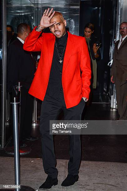 Singer Chris Brown leaves the PUNK Chaos To Couture Costume Institute Gala after party at the Standard Hotel on May 6 2013 in New York City