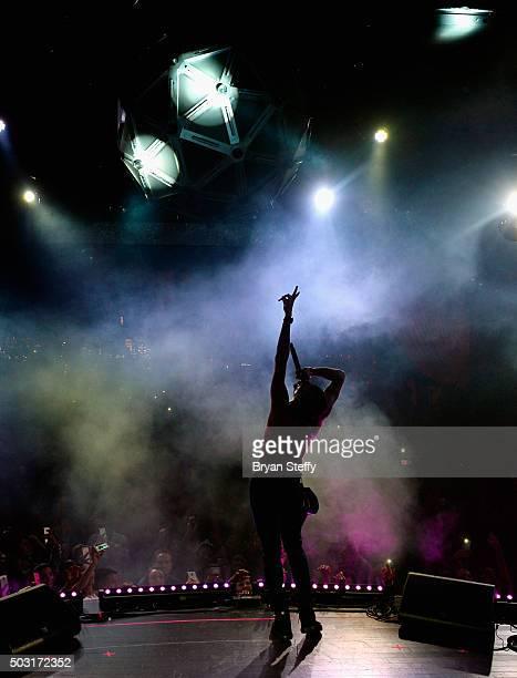 Singer Chris Brown performs at Drai's Beachclub Nightclub at the Cromwell Las Vegas kicking off Drai's LIVE 2016 on January 1 2016 in Las Vegas Nevada