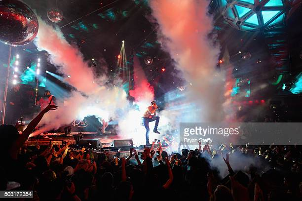 Singer Chris Brown performs at Drai's Beachclub Nightclub at the Cromwell Las Vegas kicking off Drai's LIVE 2016 on January 1 2016 in Las Vegas Nevada