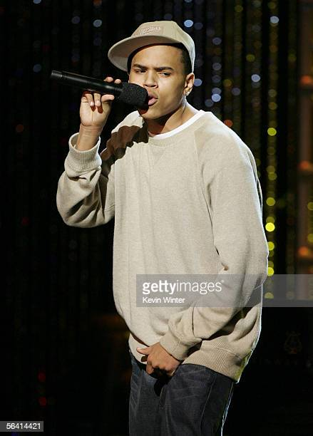 Singer Chris Brown performs at Grammy Jams' celebration of Stevie Wonder at the Orpheum Theater on December 10 2005 in Los Angeles California