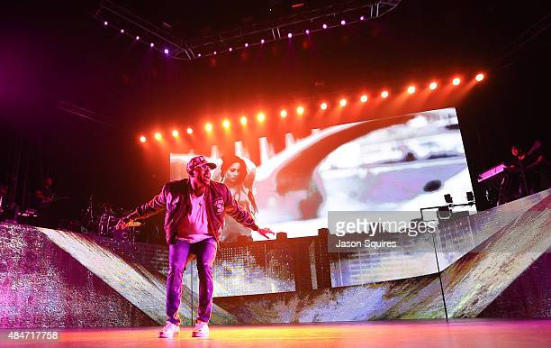 Singer Chris Brown performs at Sprint Center on August 12 2015 in Kansas City Missouri