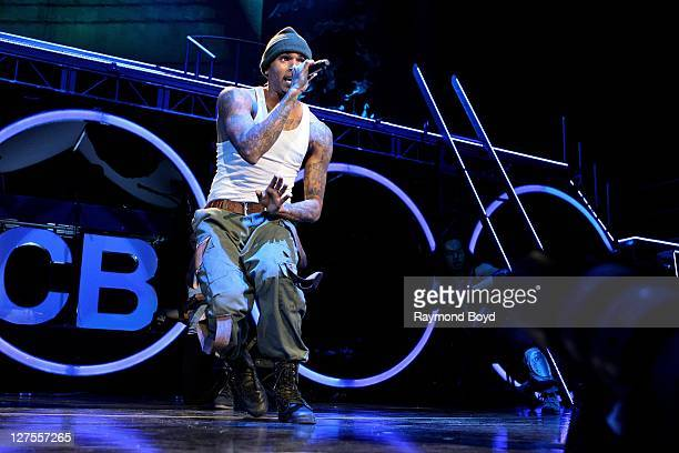 Singer Chris Brown performs at the First Midwest Bank Amphitheatre in Tinley Park Illinois on SEPTEMBER 23 2011