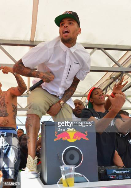 Singer Chris Brown performs at the Palms Pool at the Palms Casino Resort to celebrate Memorial Day weekend on May 26 2013 in Las Vegas Nevada