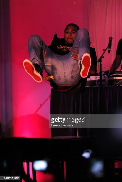 Singer Chris Brown performs at the premiere after party of Screen Gems' 'Takers' at Boulevard 3 on August 4 2010 in Hollywood California