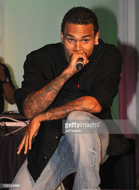 Singer Chris Brown performs at the 'Takers' Los Angeles Premiere after party held at Boulevard 3 on August 4 2010 in Hollywood California