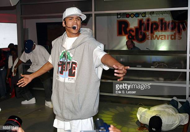 Singer Chris Brown performs during the 5th Annual Billboard RB HipHop Awards at the Compound on August 5 2005 in Atlanta Georgia