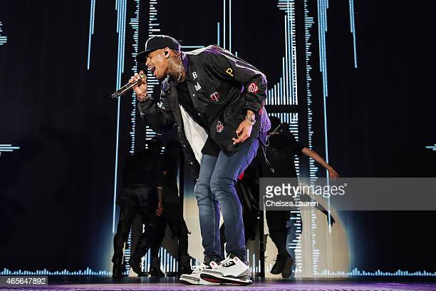 Singer Chris Brown performs during the 'Between the Sheets' tour at The Forum on March 8, 2015 in Inglewood, California.