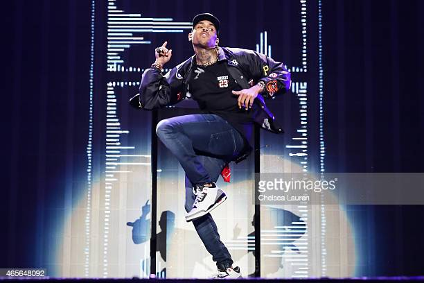 Singer Chris Brown performs during the 'Between the Sheets' tour at The Forum on March 8 2015 in Inglewood California