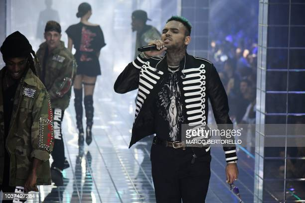 US singer Chris Brown performs during the presentation of the Philipp Plein fashion show as part of the Women's Spring/Summer 2019 fashion week in...